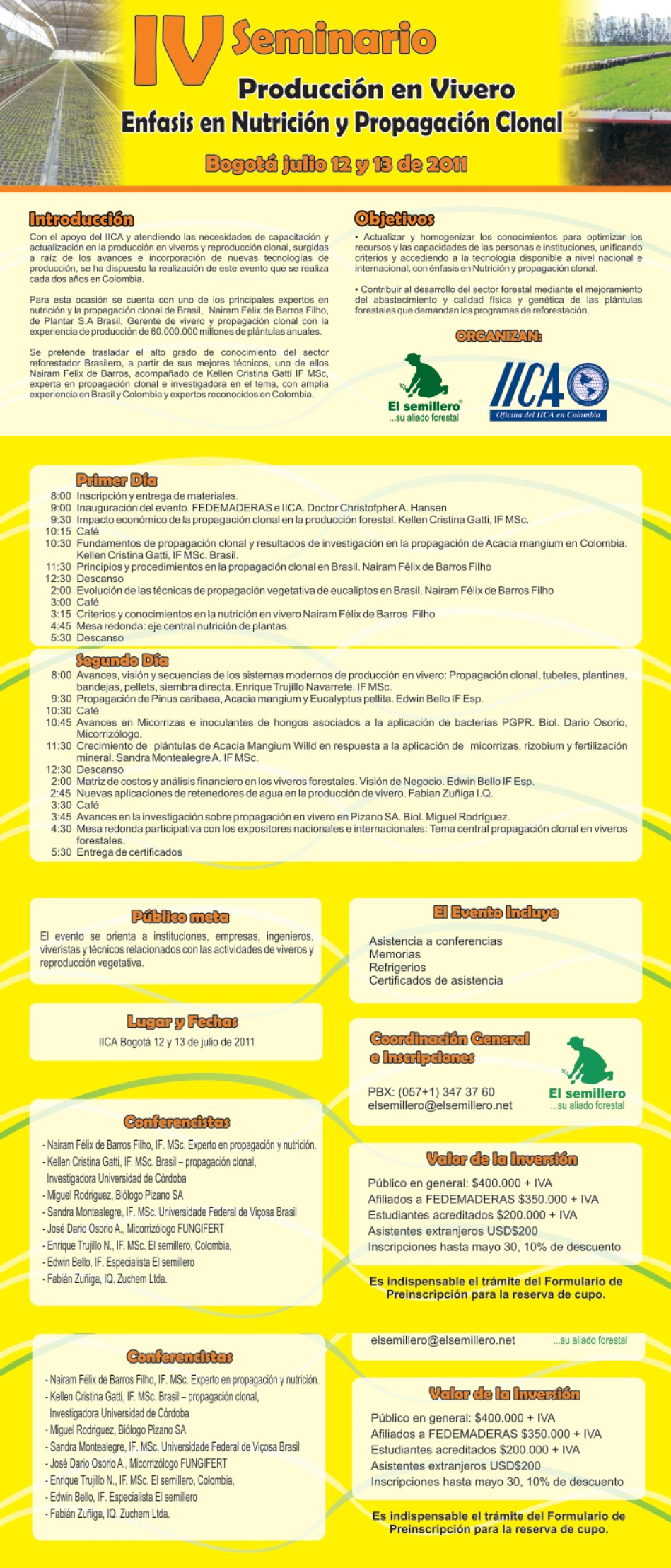Iv seminario de produccion en vivero for Produccion de viveros
